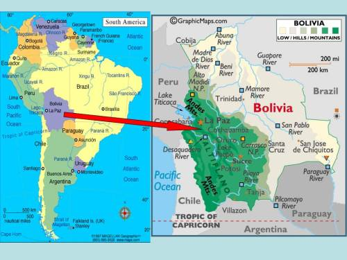 Map of South America highlighting Bolivia